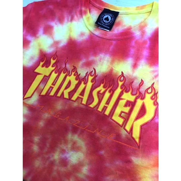 スラッシャー THRASHER フレイムロゴ タイダイ染めTシャツ メンズ M 中古 古着 210618|bazzstore|04