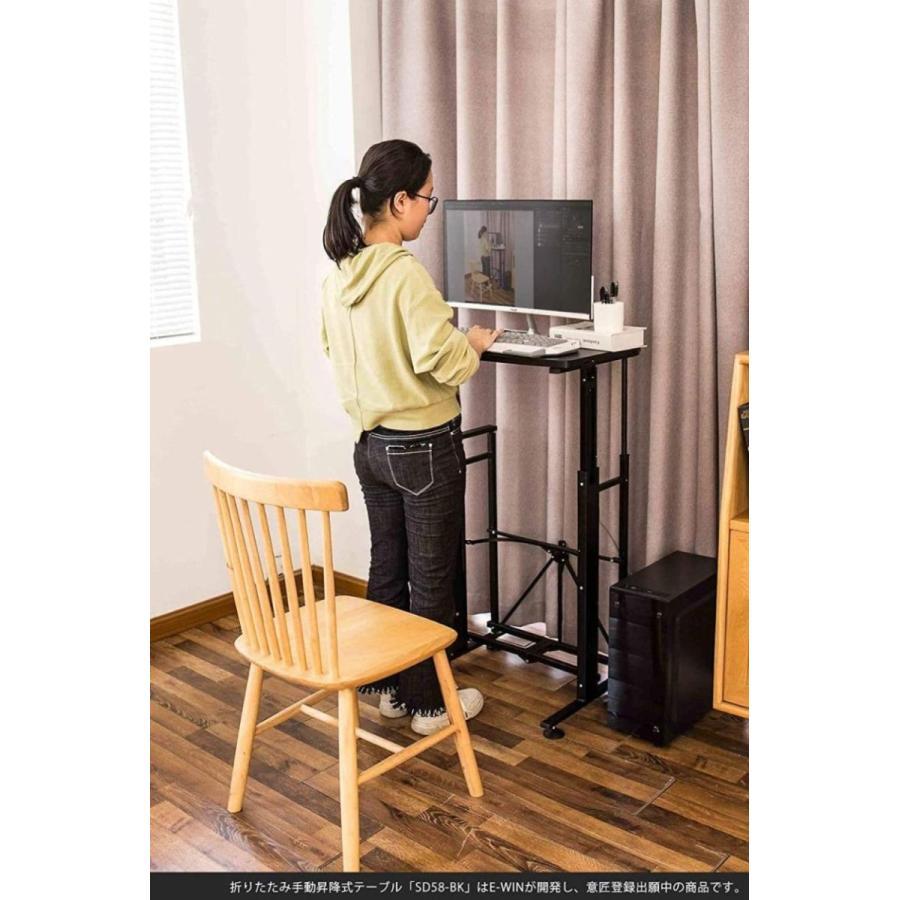 スタンディングデスク 昇降 デスク 在宅 昇降式テーブル 折りたたみ式 高さ調整 キャスター 小さめ コンパクト E-WIN bbest 16
