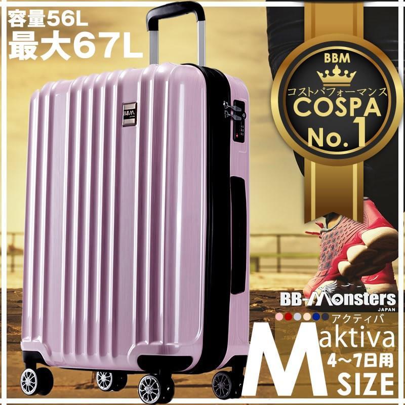 スーツケース Mサイズ 中型 軽量 キャリーバッグ ハードケース ファスナー 旅行用品 bbmonsters