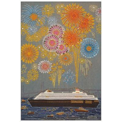 ポストカード 人気の製品 イラスト セットアップ 加納博子 刺繍作品 memories 港の花火 たて