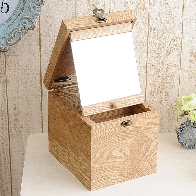 木製 メイクボックス コスメティック 鏡 北欧 縦型 コスメボックス ロングミラー ナチュラルウッド 割引も実施中 定番キャンバス