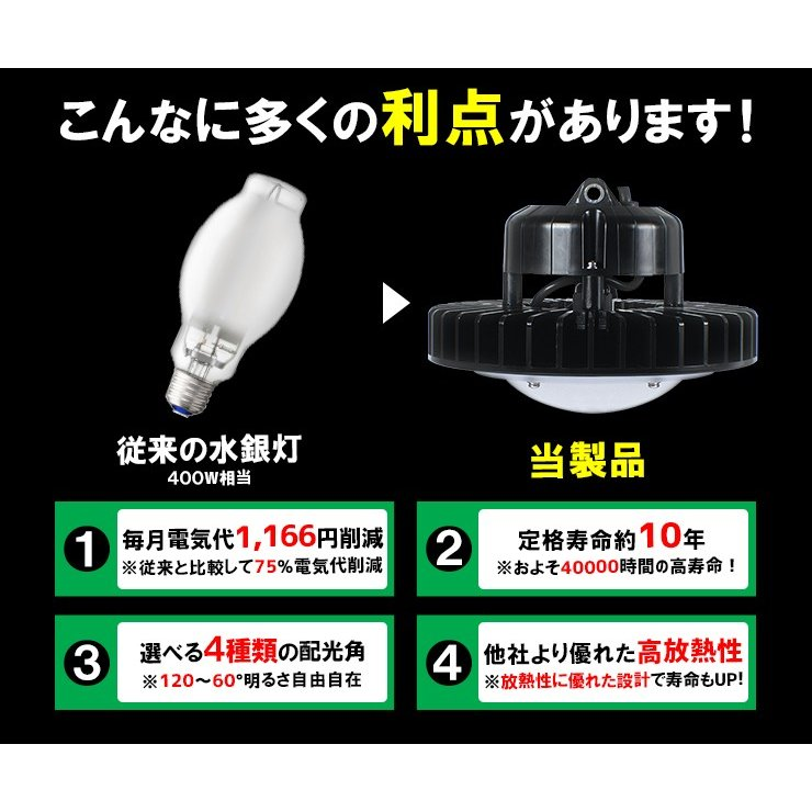 LED水銀灯 240W 相当 高天井用LEDLED照明 屋外対応 IP65 選べる角度 施設照明 工場 倉庫 作業灯 LEDライト 昼光色 7500lm beamtec-forbusiness 10