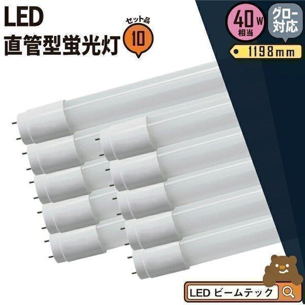 LED蛍光灯 40w形 120cm 10本セット ベースライト 広角 グロー式 工事不要 3年保証 LTG40YT--10 ガラス管使用 返品不可 昼白色 蛍光灯型 LED 蛍光灯 出群 40W