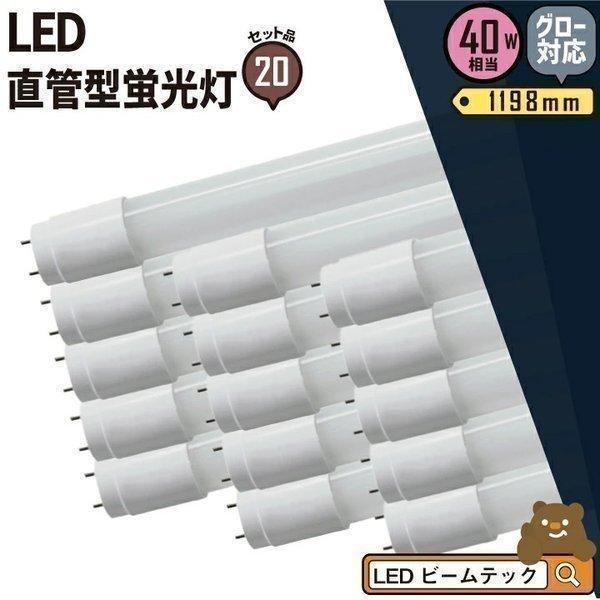 LED蛍光灯 40w形 120cm 高級 20本セット ベースライト 広角 グロー式 LED LTG40YT--20 蛍光灯 蛍光灯型 昼白色 40W 工事不要 一部予約