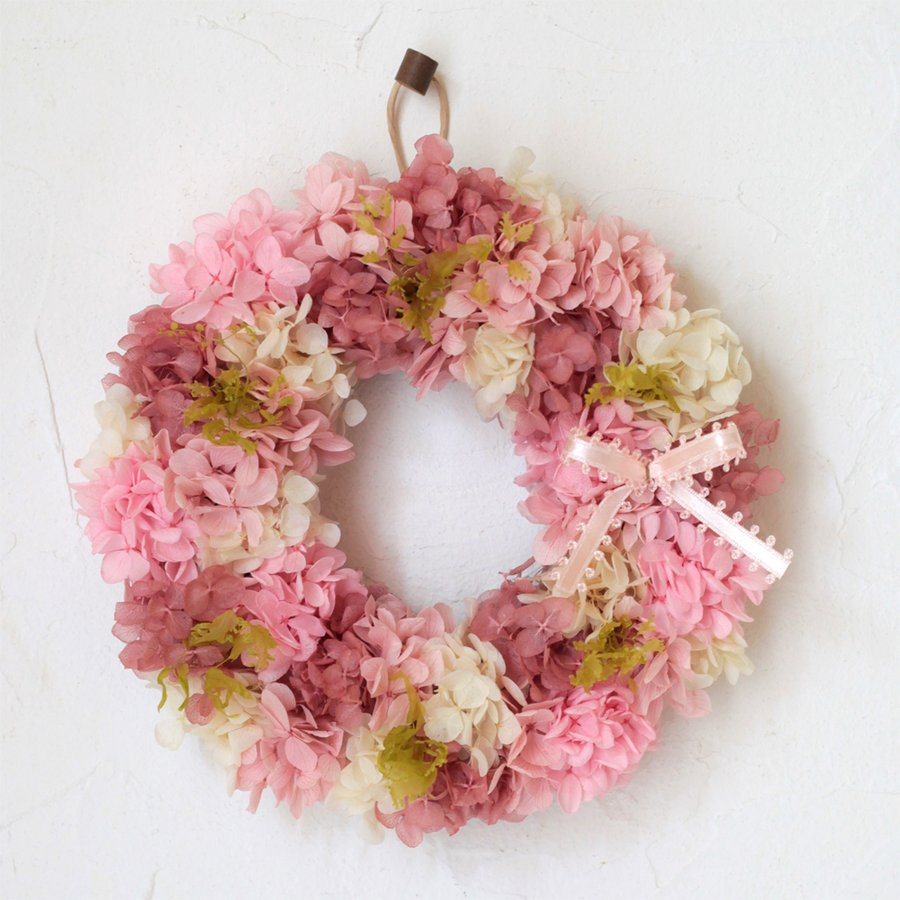 プリザーブドフラワー リース プレゼント ギフト おしゃれ 誕生日 結婚 祝い 玄関 あじさい リース ピンク S|beautiful-boy