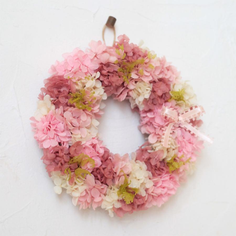 プリザーブドフラワー リース プレゼント ギフト おしゃれ 誕生日 結婚 祝い 玄関 あじさい リース ピンク S|beautiful-boy|02