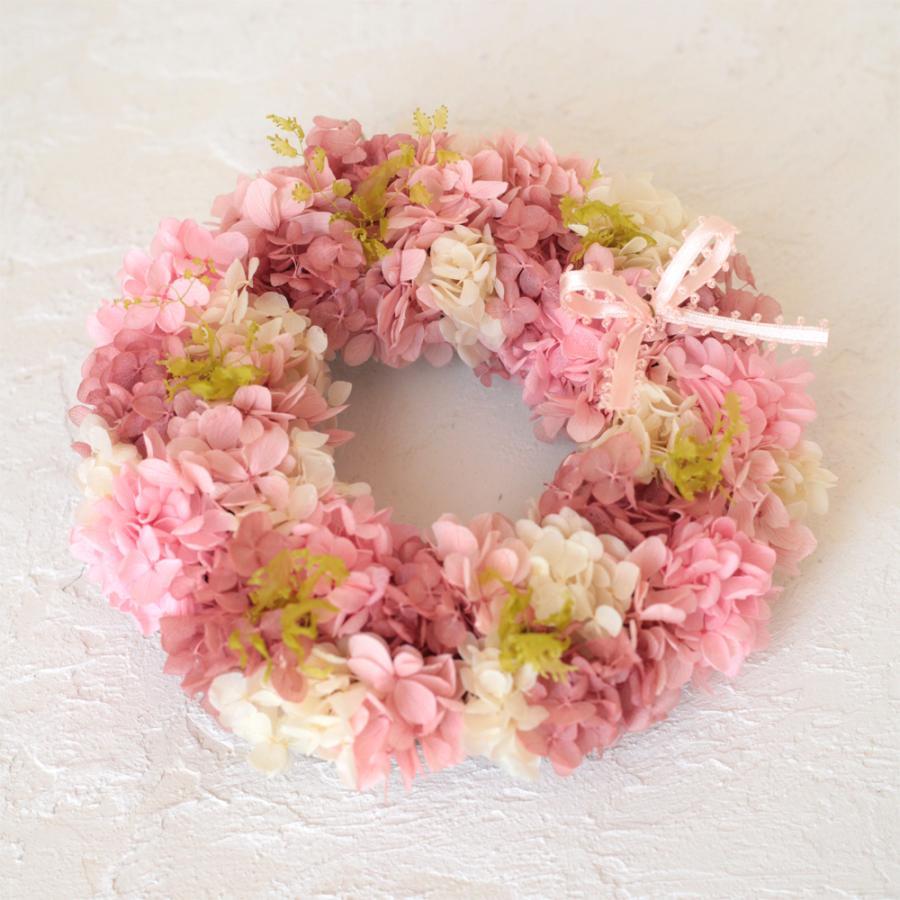 プリザーブドフラワー リース プレゼント ギフト おしゃれ 誕生日 結婚 祝い 玄関 あじさい リース ピンク S|beautiful-boy|03