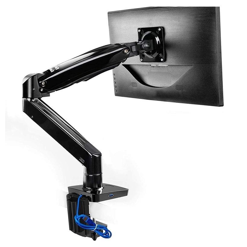 HUANUO SEAL限定商品 モニターアーム ガススプリング式22〜35インチ対応 耐荷重3-9kg グロメット式 HNSS7 クランプ式 VESA100×100 USBケーブル付き 迅速な対応で商品をお届け致します