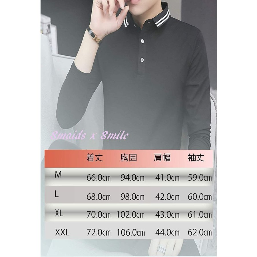 [ Smaids x Smile(スマイズ スマイル) ] ポロシャツ 長袖 通気性 シャツ ゴルフウェア シンプル 襟 トップス メンズ|beautydawn|02