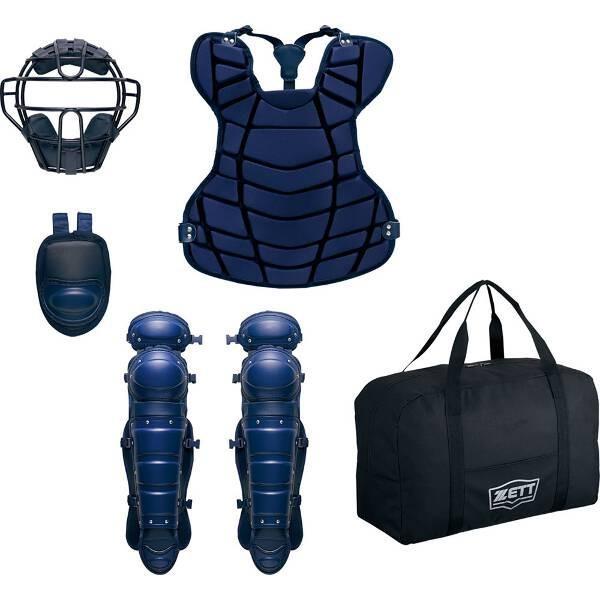 ゼット ZETT 硬式野球 キャッチャー防具4点セット(限定品) 専用収納バッグ付 [カラー:ネイビー] #BL031A-2900