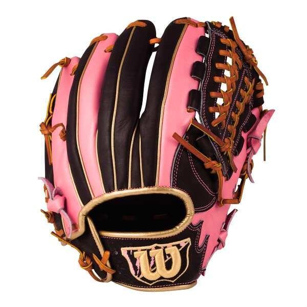 ウィルソン (左投げ用)D-MAX オールラウンド用 一般軟式野球カラーグラブ(左投げ) [カラー:ブラック×ピンク] [サイズ:8] #WTARDE5LFR-9019 WILSON