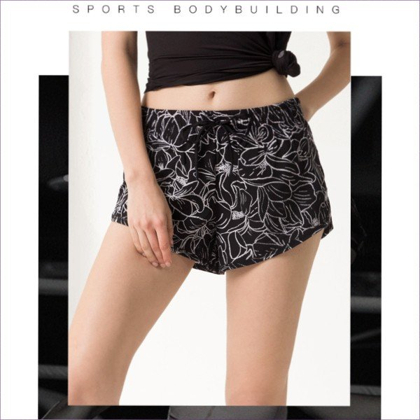 スポーツパンツ プリント ショートパンツ おしゃれ 体型カバー 重ね2枚仕立て ヨガ ホットヨガ サウナ フィットネス トレーニング ジム 送料無料|befun|02