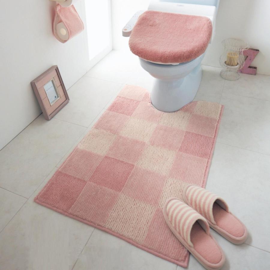 トイレマットのみ 耳長 ワイド キャンペーンもお見逃しなく ロング おしゃれ 激安価格と即納で通信販売 シンプル ふかふか ふわふわ ブロック柄 滑りにくい 洗濯 ピンク 安い