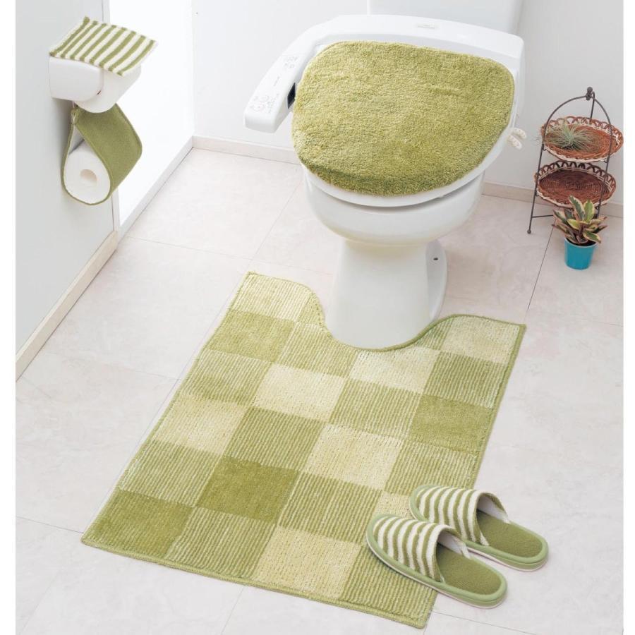 トイレマットのみ 耳長 ワイド ロング おしゃれ シンプル ふかふか タイムセール ふわふわ 洗濯 ブロック柄 滑りにくい グリーン 緑 安い 新作からSALEアイテム等お得な商品 満載