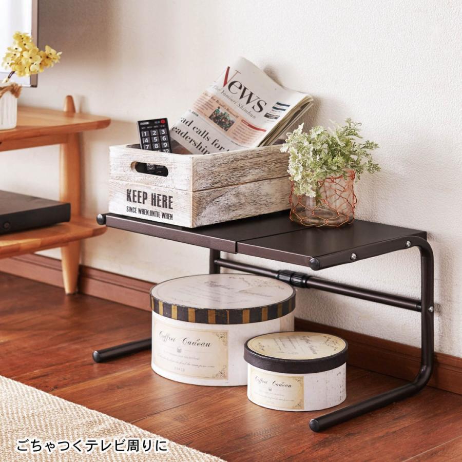 トースターラック ラック 収納 伸縮式 耐荷重量約15kg スチールラック 炊飯器 家電 小物 キッチン 隙間 ブラウン|bellemaison-interior|10