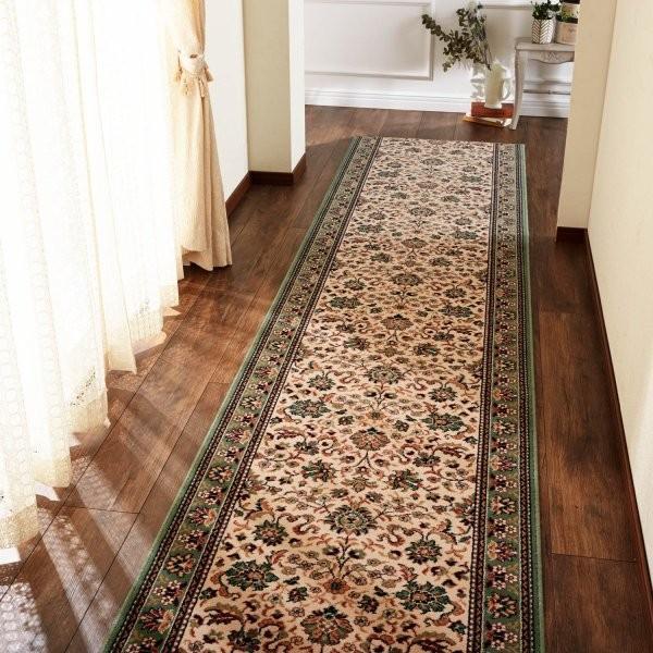 ロングマット 廊下 ラグ カーペット マット ベルギー製 ウィルトン織り 高級感 おしゃれ グリーン 約67×420