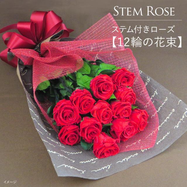 誕生日 花 プレゼント  プリザーブドフラワー   #ステム付きローズ【12輪の花束】「なでしこJAPAN」にカズが贈ったバラ  あすつく対応|belles-fleurs