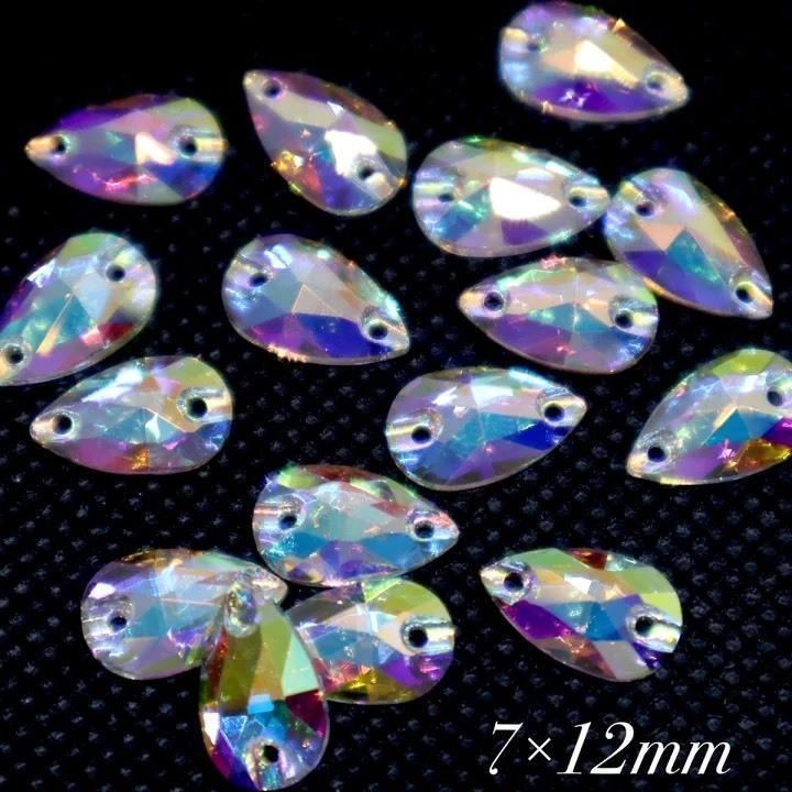 在庫限り A5ランク クリスタルオーロラ 雫型小 16粒 新生活 7×12ミリ 高輝度ビジュー ガラスビジュー ガラスストーン 縫い付けビジュー ソーオンビジュー