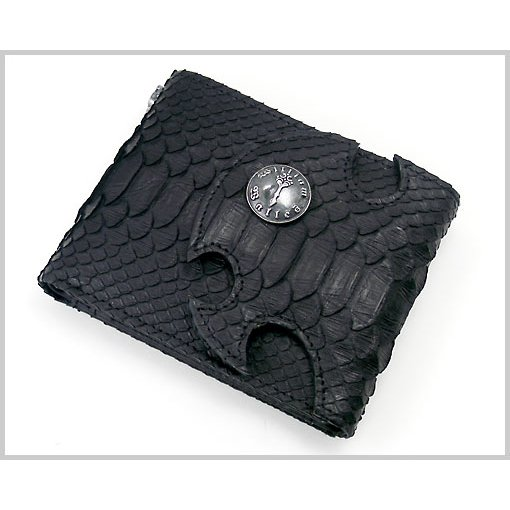 William Walles(ウィリアム ウォレス) スネーク革シュートウォレット(二つ折り財布・ブラック) BLACK SNAKE LONG WW-13270SNK-BK|bellmart
