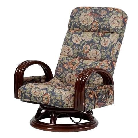 和室椅子 高齢者回転 一人用 リクライニングチェア おしゃれ 籐肘付回転リクライニングチェア ミドルタイプ