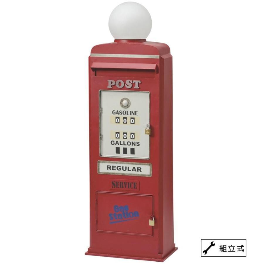 鍵つき 郵便ポスト調 アンティーク スタンドポスト