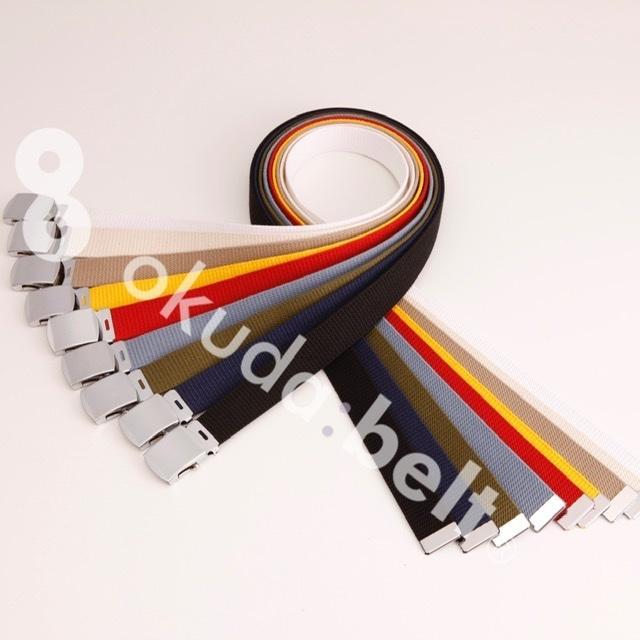 Lサイズ  ガチャベルト GIベルト 32ミリ メンズ ベルト 布ベルト くすみにくい クロームメッキ 仕様 選べる ナイロン 綿 120センチ 自社生産 日本製 おしゃれ|beltokuda