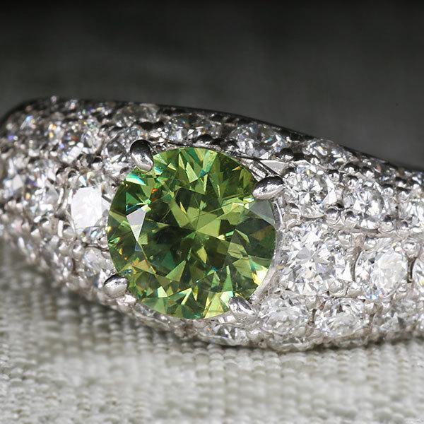 リング 指輪 限定1本 PT900 1.14ctデマントイドガーネット ダイヤモンドリング 12号  限定マルシェ  #12 誕生石4月1月 サイズ変更承ります|benebene