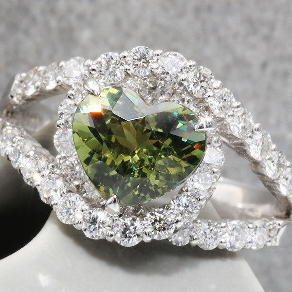 リング 指輪 限定1本 PT900 1.79ctハートのデマントイドガーネット ダイヤモンドリング 11号 限定マルシェ  #11 誕生石4月1月 サイズ変更承ります|benebene