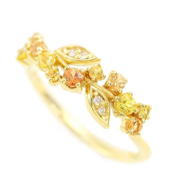 リング 指輪 レディース 金木犀色の指輪 スペサタイトガーネット イエローサファイア ダイヤモンド マルチカラーリング 誕生石 1月 9月|benebene