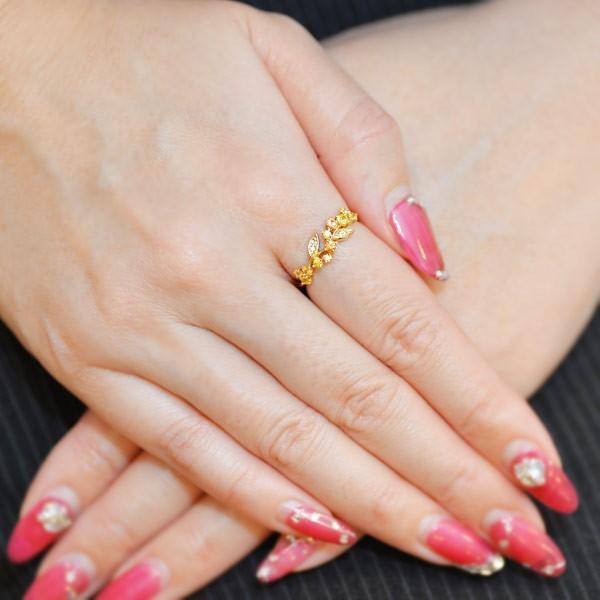 リング 指輪 レディース 金木犀色の指輪 スペサタイトガーネット イエローサファイア ダイヤモンド マルチカラーリング 誕生石 1月 9月|benebene|06