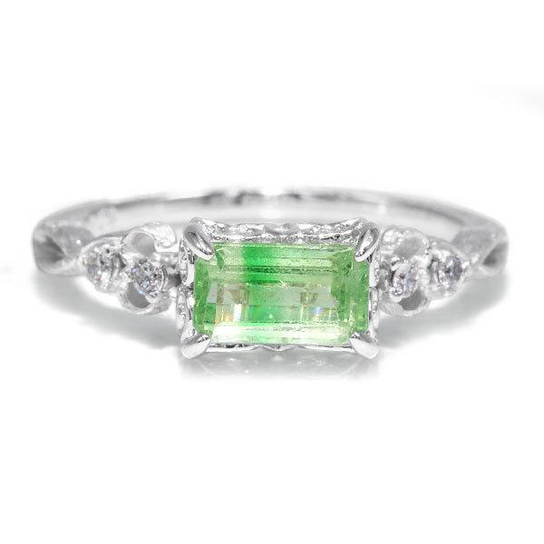 リング 指輪  レディース 限定1本 K18WG バイカラーグリーンガーネット ダイヤモンドリング ジーリョ サイズ11号 サイズ直し承ります|benebene
