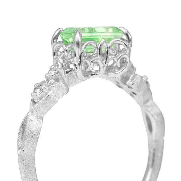 リング 指輪  レディース 限定1本 K18WG バイカラーグリーンガーネット ダイヤモンドリング ジーリョ サイズ11号 サイズ直し承ります|benebene|03