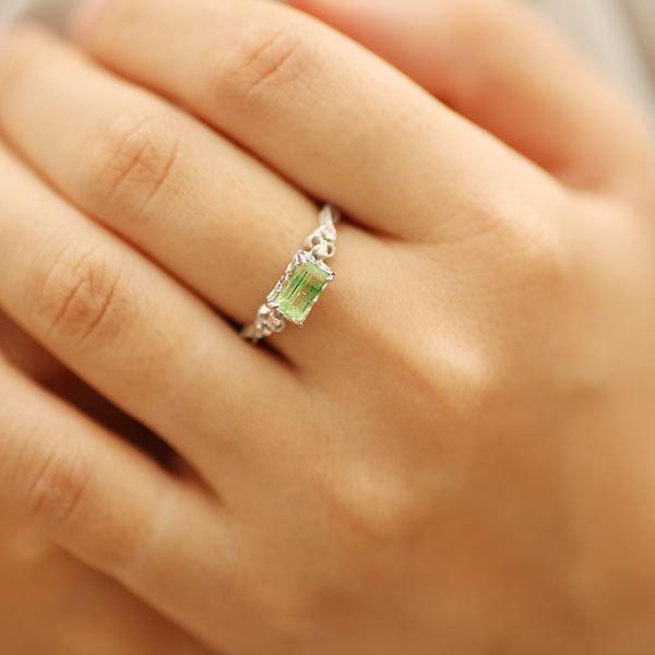 リング 指輪  レディース 限定1本 K18WG バイカラーグリーンガーネット ダイヤモンドリング ジーリョ サイズ11号 サイズ直し承ります|benebene|07