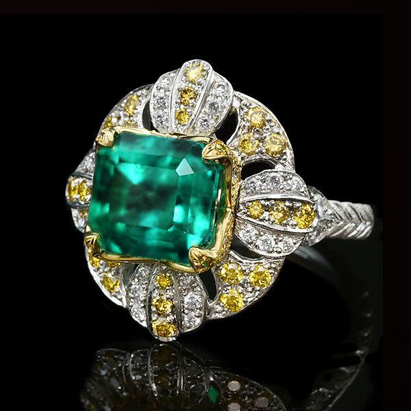 限定1本 PT900 K18YGコンビ 4.81ct コロンビア産エメラルド ゴールデンダイヤモンド ダイヤモンド リング #13 サイズはご相談ください benebene