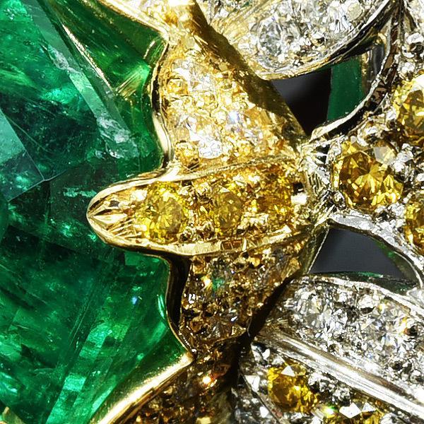限定1本 PT900 K18YGコンビ 4.81ct コロンビア産エメラルド ゴールデンダイヤモンド ダイヤモンド リング #13 サイズはご相談ください benebene 03