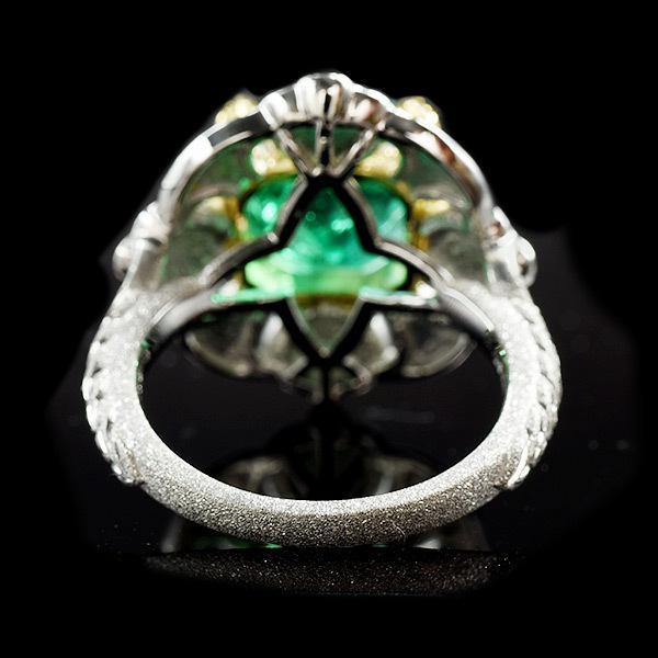 限定1本 PT900 K18YGコンビ 4.81ct コロンビア産エメラルド ゴールデンダイヤモンド ダイヤモンド リング #13 サイズはご相談ください benebene 08