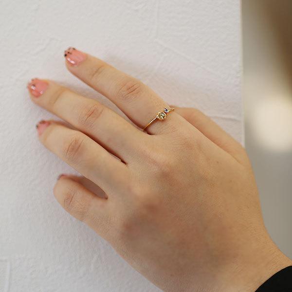 リング レディース 指輪 いつも一緒の愛猫りんぐ イエローサファイア タンザナイト リング micino ミチーノ  誕生石 9月12月 benebene 07