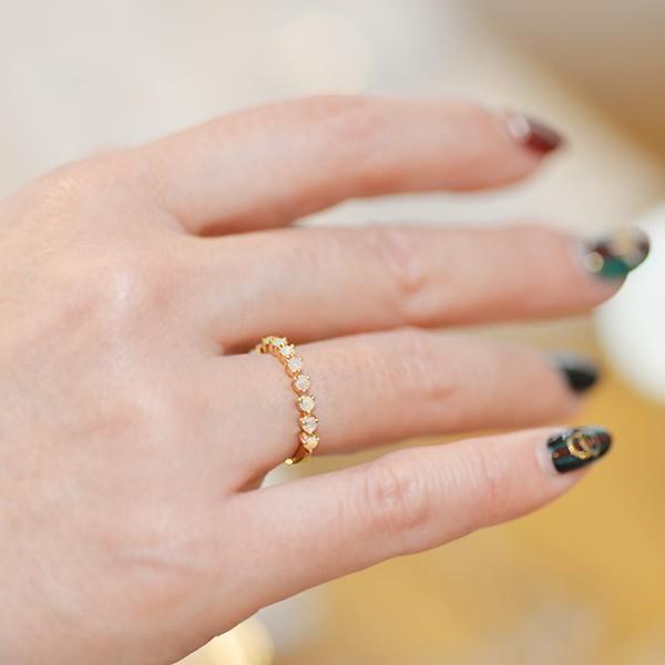 リング 指輪 レディース シンプルだから際立つ オパールリング 誕生石 10月 benebene 08