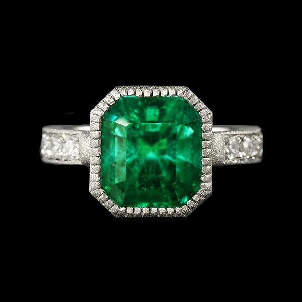 限定1本 PT900 4.55ct コロンビア産エメラルド ダイヤモンド リング #12 サイズはご相談ください|benebene|02