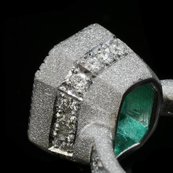 限定1本 PT900 4.55ct コロンビア産エメラルド ダイヤモンド リング #12 サイズはご相談ください|benebene|04