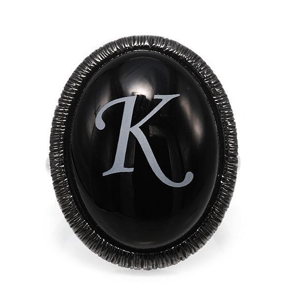 指輪 リング レディース SV925 ブラックメッキ ロジウムメッキ オニキスアルファベット イニシャル リング 指輪 benebene 06