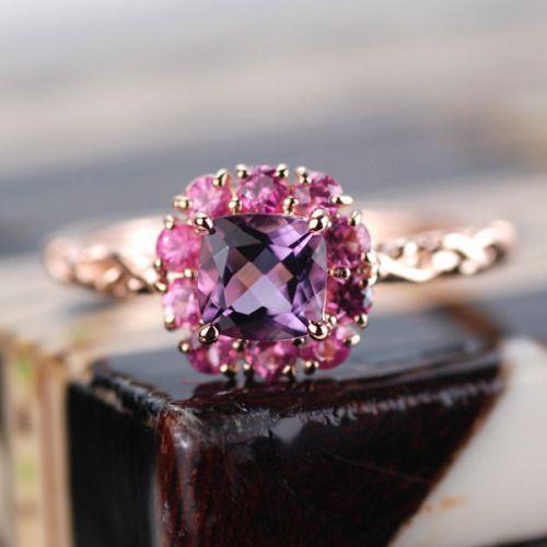 リング 指輪 レディース アメシスト ピンクサファイア 花の色のハーモニー リング 誕生石 2月 9月|benebene