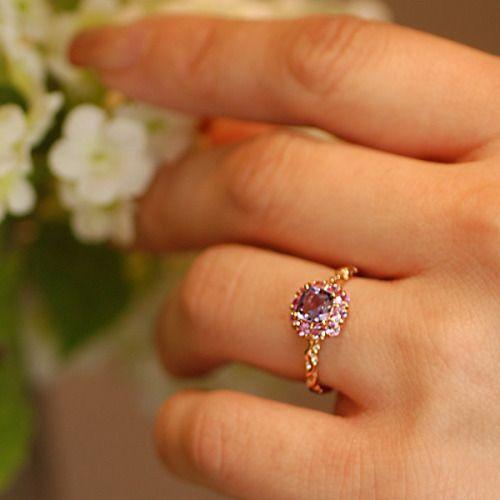 リング 指輪 レディース アメシスト ピンクサファイア 花の色のハーモニー リング 誕生石 2月 9月|benebene|03