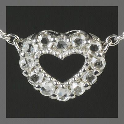 開店祝い ローズカットダイヤモンド オープンハート ペンダント ネックレス 誕生石 4月, コウヤギチョウ 04075ca3