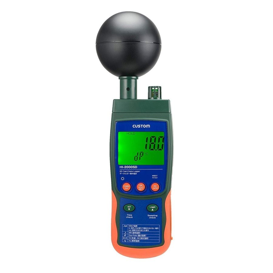 カスタム (CUSTOM) データロガー熱中症計 黒球タイプ SDカード記録対応 HI-2000SD