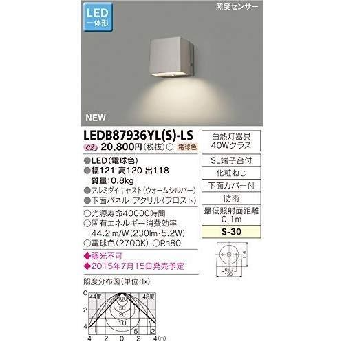 東芝ライテック LED一体形アウトドアブラケット LED一体形アウトドアブラケット 照度センサー付表札灯 ウォームシルバー 121×120