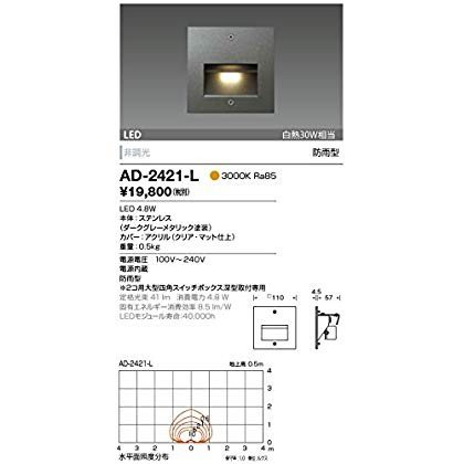 AD-2421-L 山田照明 電球色LEDアウトドアフットライト(白熱30W相当)