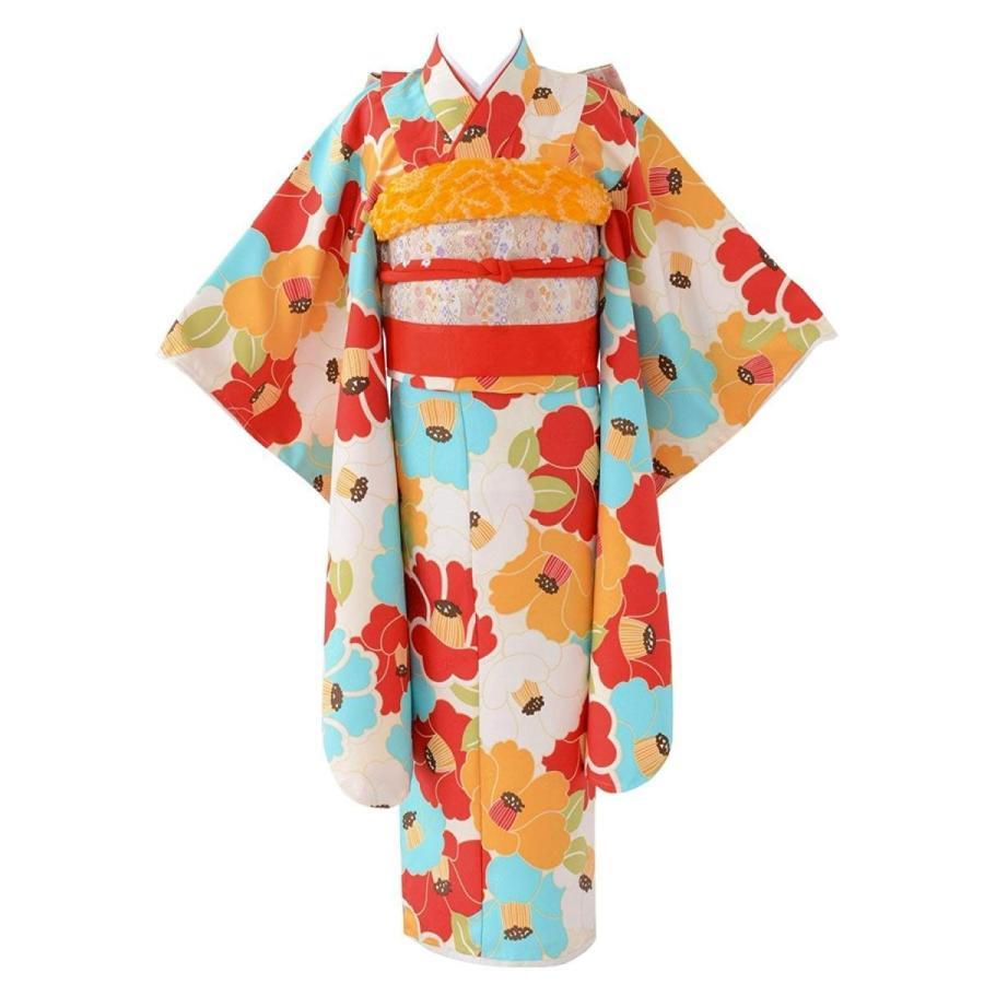 七五三 女の子着物セット 7才向け四つ身(120cm) 水色 椿