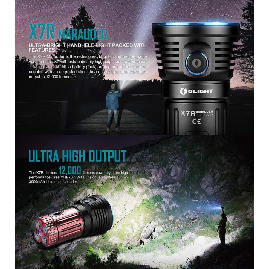 Olight X7R MARAUDER ブラック 12000高ルーメン 最強led懐中電灯・3個Cree XHP70 CW LED 最強 ル