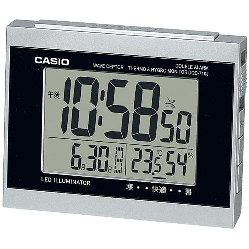 CASIO DQD-710J-8JF 一部予約 シルバー ブランド激安セール会場 電波目覚まし時計 温湿度計付き